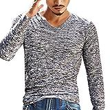 MEIbax Mens Solid V-Ausschnitt Langarm T-Shirt Top Slim Bluse,Langarmshirt Herren Fitness-Sweatshirts Shirt Longsleeve Slim Fit T-Shirt (Grau,2XL)