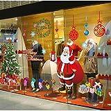 MFEIR® Weihnachten Fenster Aufkleber Weihnachtsmann Abnehmbare Vinyl weihnachtsbaum DIY Wand Fenster Tür Wandbild Aufkleber Aufkleber für Schaufenster,rot
