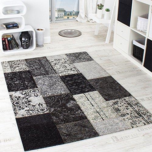 Vintage Teppich -Antik- Trendiger Patchwork Stil Designer Teppich in Grau, Grösse:68x120 cm - Antik-stil Teppich
