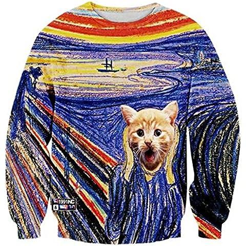 Uideazone 3d divertente Cat girocollo con stampa Pullover Maglione Felpa