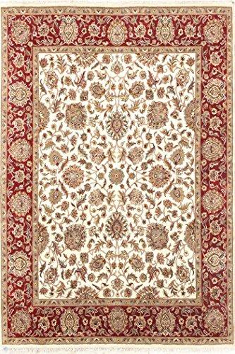 Arts of India Blumen Design Beige Wolle indisch Handgemacht Handgeknüpft Jaipur/Orientalisch 8X10 Bereich Teppich - Bereich Teppich 8x10