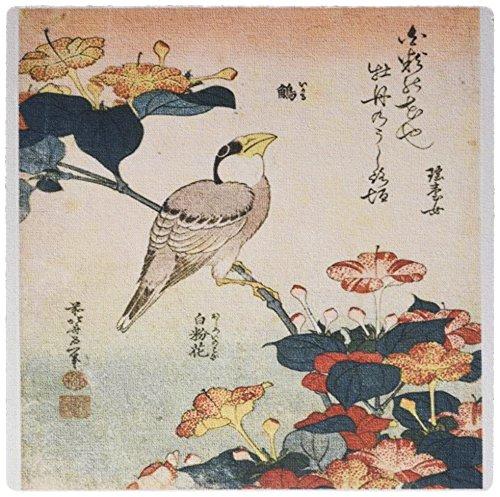 3drose 20,3x 20,3x 0,6cm Bild der japanischen Malerei von Vogel und Blumenmuster mit Worten Mauspad (MP _ 163291_ 1)