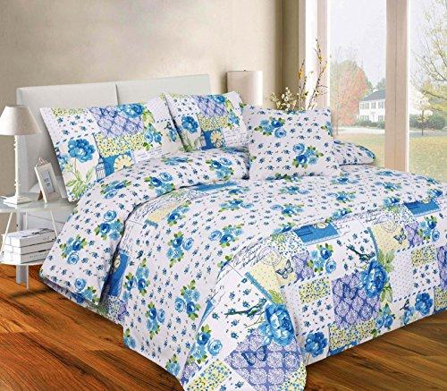 clicktostyle 5Stück Bett in eine Tasche mit Bettbezug Kissen 1Kissen Bezug 1Runner Bettwäsche-Set, Harper Teal, Einzelbett (Faux Seide Tröster)