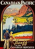 Vintage Travel Kanada für Banff in the Rockies 'C1936250gsm, Hochglanz, A3, vervielfältigtes Poster