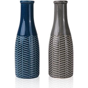 Hannahu0027s Cottage Keramik Vasen, Keramikvasenset 22cm 2er Set Blau Grau  Handmade Modern Dekorative Vase Für Wohnzimmer, Küche, Tisch, Zuhause,  Büro, ...