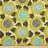 Naturfarbener Canvas-Dekostoff mit großen Sonnenblumen
