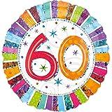 paduTec Heliumballon Zahlenballon Ballon Folienballon - Glitzerballon 60 Jahre Alter Jubiläum - Happy Birthday Geburtstag Deko - mit Helium gefüllt