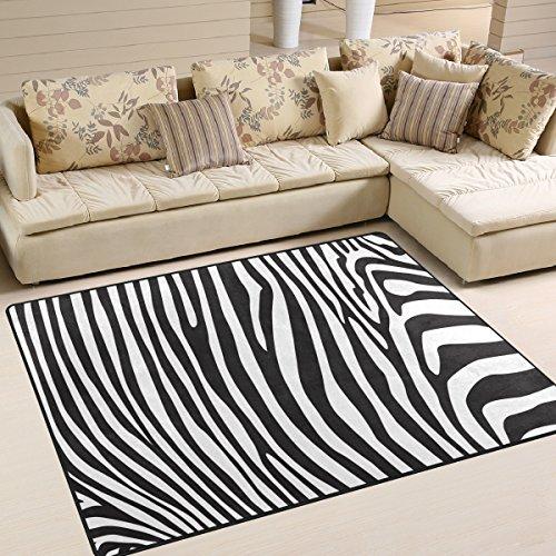Use7 - Alfombra para salón o Dormitorio, diseño de Cebra, Color Blanco y Negro, Tela, 160cm x 122cm5.3...