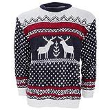 Herren Strickpullover / Pullover mit weihnachtlichem Rentier-Motiv (X-Large) (Marineblau/Weiß)