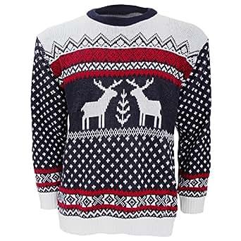 Herren Strickpullover / Pullover mit weihnachtlichem Rentier-Motiv