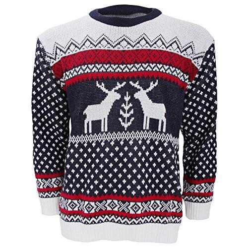 *Herren Strickpullover / Pullover mit weihnachtlichem Rentier-Motiv (Medium) (Marineblau/Weiß)*