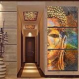 Mit Rahmen moderne Leinwand Gemälde an der Wand 3 Panel Buddha Kunst modulare Bilder für Wohnzimmer Home Decor abstrakte Malerei auf Leinwand, 35cmx50cmx 3 Stk.
