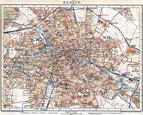 MAP ANTIQUE 1894 BROCKHAUS BERLIN CITY PLAN LARGE REPLICA POSTER PRINT PAM0375