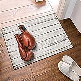 fuhuaxi Weiße Vintage Holzbrett und Boxhandschuhe Badezimmermatte, Rutschfeste Bodentür, Außentürmatte, Badematte 40x60 cm, Badezimmermatte