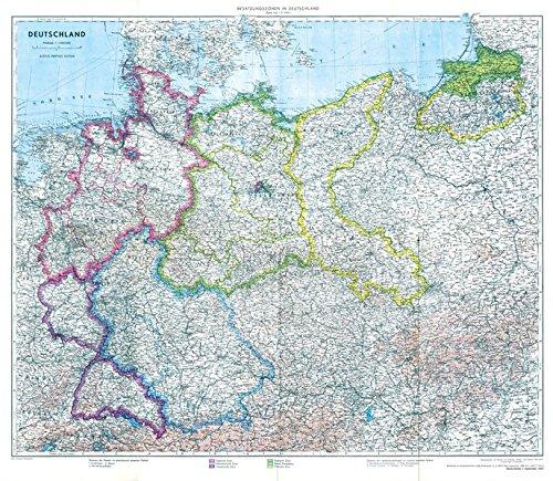 Historische Karte: Deutschland mit Besatzungszonen - 1. September 1945 (plano): - Deutschland nach dem 2. Weltkrieg -