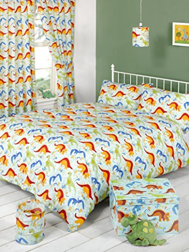 "CHILDRENS CURTAINS ONE PAIR OF DINOLAND DINOSAURS BLUE ORANGE ANIMAL PRINT CURTAINS 66""X72"" (168CM X 183CM) APPROX BOYS BEDROOM CURTAINS UNLINED WITH PENCIL PLEAT TOP / TIEBACKS INCLUDED"