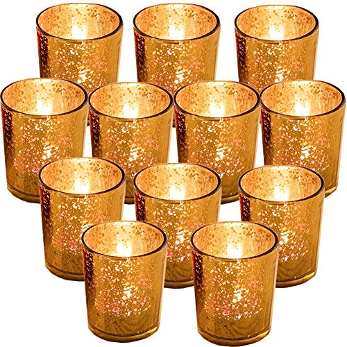 """GUIFIER 12 PCS Mercury Glas Votive Kerze Teelichthalter Glas Quecksilber Kerzenhalter Gesprenkelt Gold Teelicht Kerzenhalter 2,67\""""H für Hochzeits-Dekoration, Partys und Home Décor"""