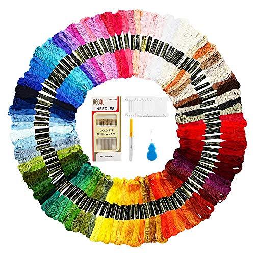 Mitening Stickgarn, Embroidery Threads Floss Sticken Set Weicher Baumwollgarn Garn für Freundschaftsbänder Stickerei Kreuzstich Basteln Nähgarne Häkeln 8M 6-Fädig (100 Farben) -