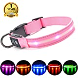 MASBRILL Light Up Dog Collar with Waterproof & USB Rechargeable, LED Flashing Dog Collar for Night Safety, 10 Hours Working Time(Pink, M)