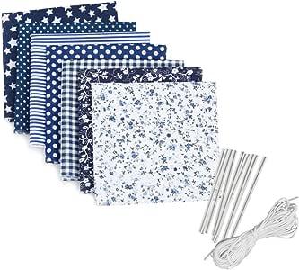 7PCS Patchwork Coton Textile 6M Corde Elastique Rond Cordelette Nylon 10PCS Pince-Nez Pont de Protection Bricolage DIY Kit Outile Artisanat Couture Accessoires De Couture Bricolage