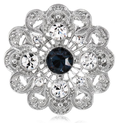 Downton Abbey Boxed Silver-Tone Blue Crystal Blossom Brooch