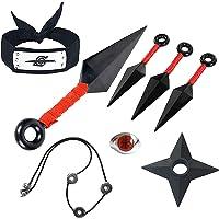 HUABAI Anime Naruto Cosplay 8-teiliges Set, Stirnband, Ring, Halskette, Requisiten-Zubehör-Set, Spielzeug für Herren…
