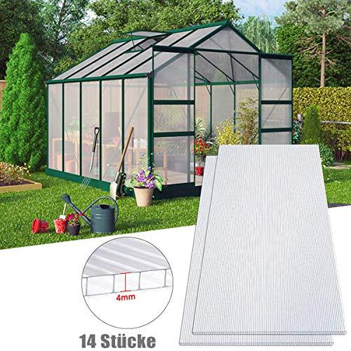 Aufun Plaque Polycarbonate 4mm pour Serres de Jardin 10,25 m² Creux Transparent Résistant aux UV, 60,5x121 cm par pièce, pour Faire Pousser et protéger Plantes, Lot de 14 (Transparent)