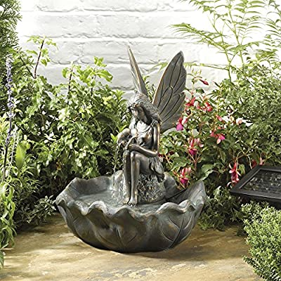 Brass Effect Fairy on Clamshell Water Fountain, Garden Feature with Solar Powered Pump for Outdoor, Decking, Patio & Courtyard