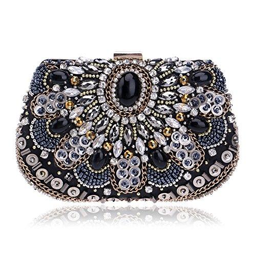 American Mesdames pour haut de gamme Fashion percées PU Sac de Soirée d'embrayage sac magnifique petits sacs solide couleur robes Diagonale Sac épaule dénudée noir