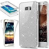 Galaxy S6 Edge Plus Hülle,ikasus Full-Body 360 Grad Bling Glänzend Glitzer Klar Durchsichtige TPU Silikon Hülle Handyhülle Tasche Case Front Back Cover Schutzhülle für Galaxy S6 Edge Plus,Silber