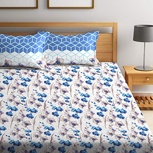 Bombay Dyeing Cynthia 120 TC Polycotton Double Bedsheet with 2 Pillow Covers - Blue