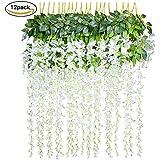 12 Piezas Flores Artificiales Plantas Decoración - YQing Seda Wisteria Artificial Flores Decoración para Boda Hogar