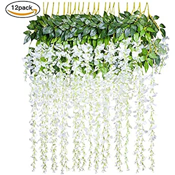 12PCS Lot 36feet Piece Artificial Flowers Fake Wisteria Vine Silk Flower For Wedding