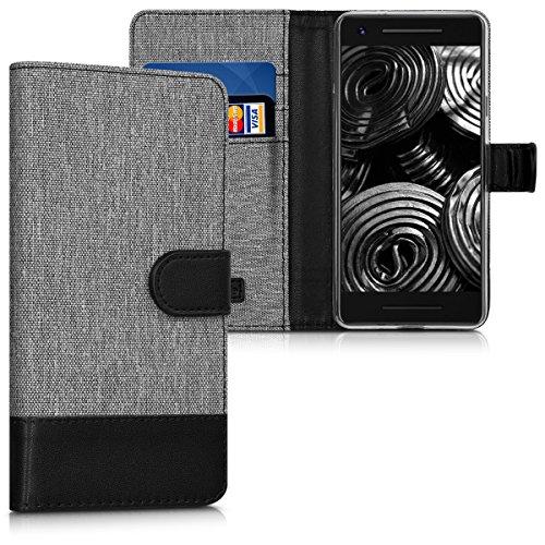 kwmobile Hülle für Google Pixel 2 - Wallet Case Handy Schutzhülle Kunstleder - Handycover Klapphülle mit Kartenfach und Ständer Grau Schwarz