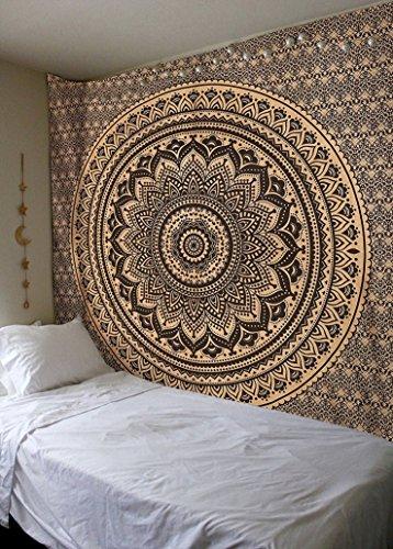 Raajsee Schwarz und Gold Wandteppich Mandala Tapisserie Queen 201x220 cms / Elefanten Hippie Wandbehang Bohemian Hippy Boho Vorhänge Tuch / Indisch Psychedelic Baumwolle Wand tucher