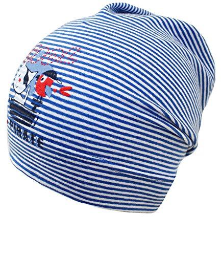 Fiebig Jungenbeanie Jerseybeanie Sommerbeanie Beanie Jerseymütze Sommermütze Mütze gestreift mit Priratendruck für Kinder (FI-87069-S17-JU1-15-53) in Royal, Größe 53 inkl. (Günstige Hut Piraten)