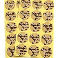 TININNA 120 pieza Etiquetas Adhesivos,Kraft Pegatina Adhesivas con texto Thank You redondo Vintage Style Danke,para paquetes de regalos y manualidades.