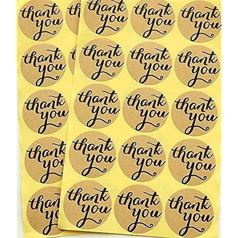 TININNA 120 pieza Etiquetas Adhesivos,Kraft Pegatina Adhesivas con texto Thank You redondo Vintage Style Danke,para paquetes de regalos y