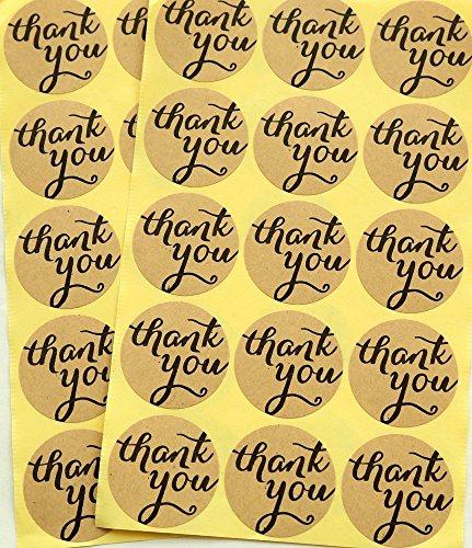 TININNA Vintage rotonda Thank You Tag Kraft Envelope Seals Labels Stickers 120 pezzi