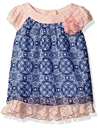 Youngland Baby Girls' Printed Knit to Chiffon Fashion Dress