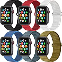 MAZTRON 6-Pack Nylon Band Compatible with Apple Watch 38mm 40mm 42mm 44mm size, Soft Light-weight Breathable Replacement Sport Strap for iWatch Series SE 6 5 4 3 2 1