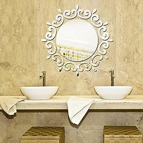 Spiegel, an der Wand kleben, runde Kranz Wohnzimmer Schlafzimmer Kommode Dekorative wasserdichte Acryl Spiegel Paste, 46 * 46 cm, 46 * 46 Cm-Silver