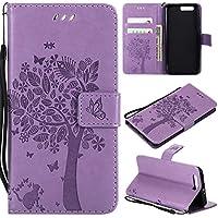 Thrion Huawei Honor 9 Funda, Flores Cierre Magnético Billetera con Tapa para Tarjetas de Cárcasa Elegante Retro Suave PU Cuero Caso Protectora Case - Violeta Claro