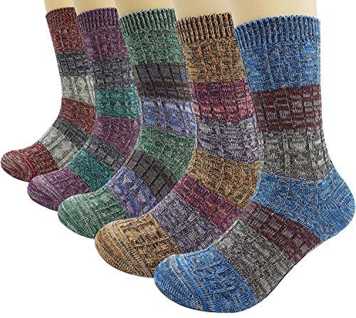 Bienvenu Damen Dame 5 Pack Vintage Style Baumwolle Crew Socken (Santa Claus Anzüge Für Verkauf)