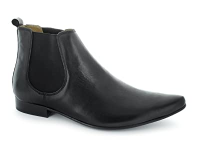68e425ab3af1 Ikon SLY Mens Leather Pointed Chelsea Boots Black  Amazon.co.uk  Shoes    Bags