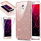 Cover Galaxy Note 4,Custodia Galaxy Note 4,Cristallo lusso Bling scintillio lucido 360°Full Body Cover Silicone Case Molle TPU Trasparente Sottile Case Cover Custodia per Galaxy Note 4,Oro rosa