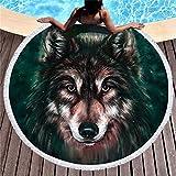 Pterygoid Collection 149,9cm Wolf Dick Rund Mikrofaser Strandtuch Beach Decke-Weich, Quick Dry