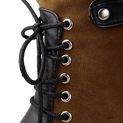 AllhqFashion Damen Blend-Materialien Gemischte Farbe Reißverschluss Hoher Absatz Stiefel Gelb