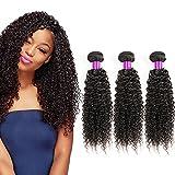 brésilien crépus frisés naturels non traités Cheveux vierge Tissage Regroupe 3 trames Extensions de cheveux humains pour femme noire Naturel Noir Couleur(20 20 20Pouce)
