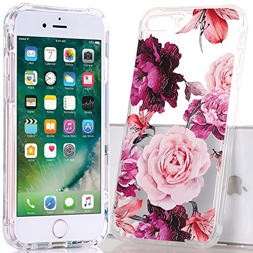 iPhone 7Plus Fall, iPhone 8Plus Hülle mit Ananas, baisrke Slim stoßfest transparent Ananas Muster weiche Biegsame TPU Back Cover [14cm]-Gold Ananas, Purple Pink Flowers
